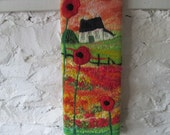 fiber art, textile art, felt and stitch, naive flower picture, poppy picture