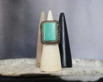 Turquoise Cocktail Statement Ring w/ Swarovski Crystals