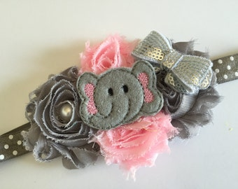 Flower Elephant Headbands, Elephant Headband, Baby Girl Headbands, Animal Headband, Grey and pink headband, Baby Elephant Headband