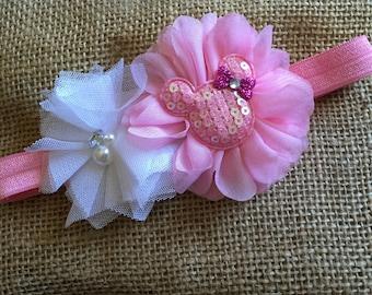 Minnie Mouse Headband - Baby Girl Pink Flower Headbands - Pink Minnie Mouse Headband - Hair Bows - Child Headband, Toddler Headbands