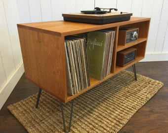 New Mid Century Modern Record Player Console, Turntable, Stereo Cabinet  With LP Album Storage