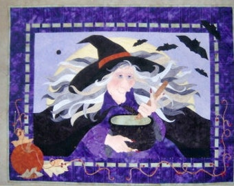 Witch's Brew Wall Quilt with hand painted face and hands