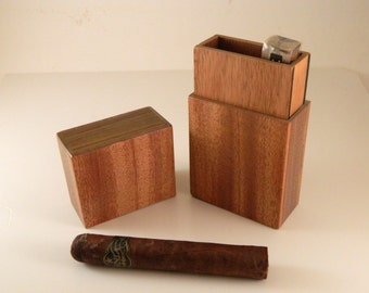 3 Cigar Wood Travel Humidor Case, Mahogany, Walnut Spanish Cedar Lined