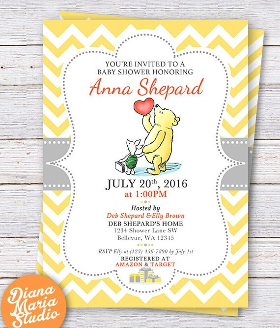 winnie the pooh baby shower invitation classic winnie the, Baby shower invitation