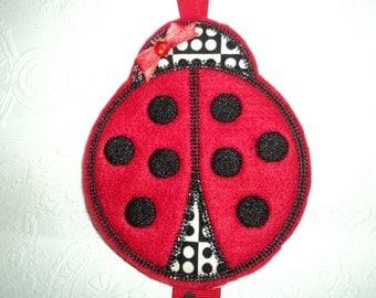Lady Bug, Ladybug, Hair Bow Holder, Clip Holder, Clippy Keeper, Clippy Holder, Bow Keeper, Hair Bow Organizer, Hair Bow Hanger, Felt Holder
