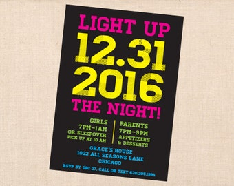 NEON light up the night personalized printable birthday party new year's eve invitation