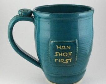 Han Shot First mug, dark teal, #111, 18oz
