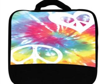 Peace Love Heart Tie Dye Tiedye Hippy Print Canvas Lunch Bag, 999974