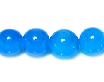 40 Opaque Blue Beads - 10mm Round Glass Beads - Jelly Beads