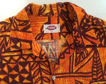 1950s Pomare Barkcloth Tiki Tribal Button Down Vintage Hawaiian Shirt