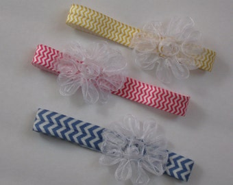 Doll Headband-fits Baby Stella-Your Choice of Color-Chevron-Blue Pink Yellow White-Ready to Ship-Great to go with your favorite dress Easter