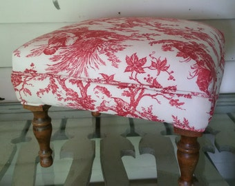Vintage Footstool with Red and White Toile