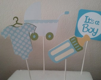 Its A Boy Cake Topper Set (set of 4)- Boy Baby Shower Decorations- Baby Boy Shower Centerpieces