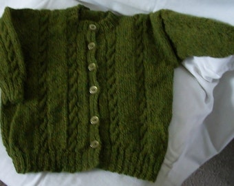 Olive  Green Round Necked Cardigan for 2 to 3 year old made with Alpaca wool