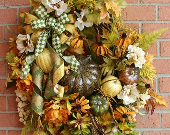 XL Deluxe Fall Pumpkin Wreath, Olive, Tuscan Gold and Ivory Autumn Floral Wreath, Wisteria, fall floral Swag, Thanksgiving Harvest Wreath