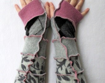 Recycled Sweater Arm Warmers - Festival Clothing - Hippie Gloves - Wool Gloves - Recycled Sweaters - Gypsy Clothing - Handmade Clothing