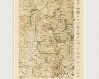 Rocky Mountain National Park Map Art Print 1919/1940 Old Antique Map Archival Reproduction - USGS Topographic Map