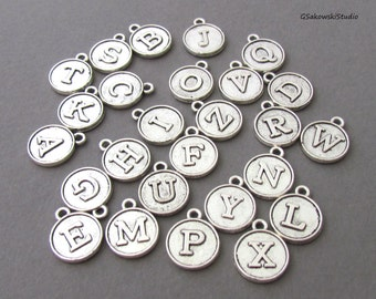Add on round initial charm, personalized antique silver initial disc drop charm