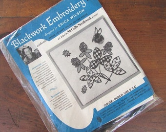 Blackwork Embroidery Kit by Erica Wilson Vintage McCall's Needlework Kit