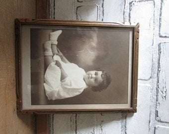 Antique Baby Picture Vintage Kindergraph Photo Cottage Chic Frame White Decor