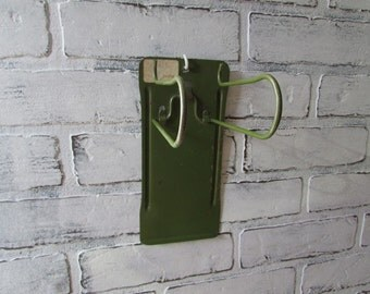 Receipt Holder Vintage Metal Green Hanging File HOlder