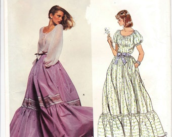70s Bohemian Peasant Blouse, Oscar De La Renta, Vogue Patterns, Romantic blouse, Vintage