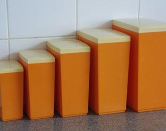 Retro kitchen canister set (5) bright orange melamine storage Capri Australia Mid century