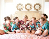 SET of 5 Bridal party robes for bridesmaids, Maid of honour and Bride, bridemaids Gift, Cotton Floral Print Bath Robes, Bridal Party favours