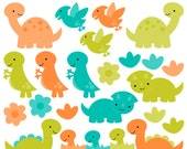 Instant Download Clipart Package 227 Dinosaur Clipart