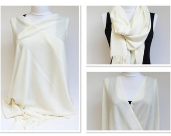 Ivory Shawl Wrap, Ivory Pashmina Scarf, Formal Wedding Wrap, Ivory Scarf Wrap, Plus Size Wrap Shawl, Bride Dress Wrap, Ivory Summer Shawl