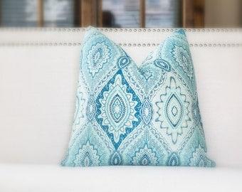 Bohemian pillow- Bohemian Design textured pillow cover-  Aquatic blue, peach blush, Aqua and light blue pillow cover