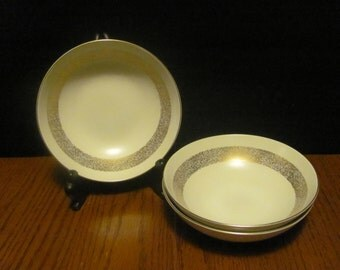 """Three Mikasa """"Silhouette"""" Soup Bowls Gold Speckled Rims"""