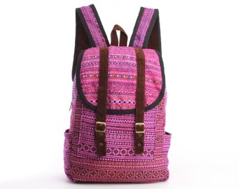 Exotic Pink Backpack Oriental Traditional Hand Stitched Textile