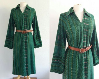 Vintage 70s Green Autumn Dress - Festival Boho Hippy Gypsy