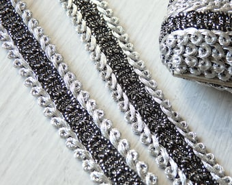 Japanese trim in black and silver - THREE YARDS, 15mm black and silver trim, Japanese lace trim, black and silver metallic trim - 3 yards