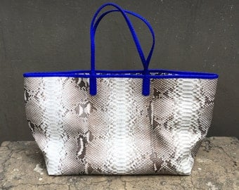TOTE BAG - Extra Large Natural Tote Bag Python Snakeskin Leather with Blue Python Trim
