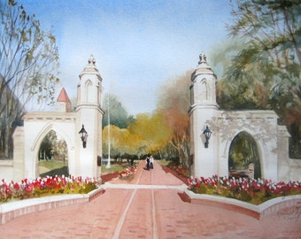 IU Sample Gates Limited Edition Hand Signed Giclee Print, x of 100, Indiana University Gate, University Print ,College Art, Bloomington IN