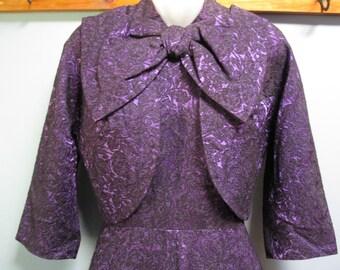 Glamorous 1960's Purple Brocade Party Dress And Jacket Formal Gala Wedding