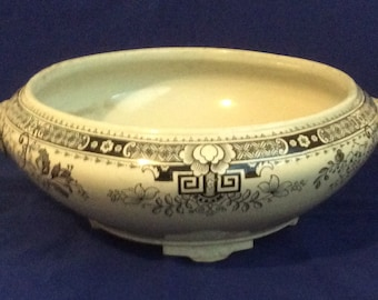 Brownfield Blue and White Oriental Footed Dish