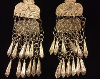 Vintage tiered chandelier earrings from India