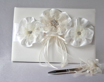 Ivory wedding guest book, Satin lace organza guestbook, Wedding guest book, Shabby chic ivory guest book, Pearl and Rhinestones guest book