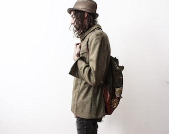 Vintage Parka Army Jacket 1960s Wool Khaki Military Wear Size Medium Retro Antique Army Clothing