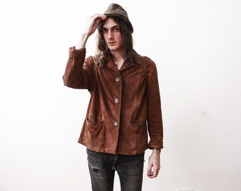 Vintage 1970s Brown Suede Jacket Boho Hippie Casual Jacket Size Small Rusty Old Worn In