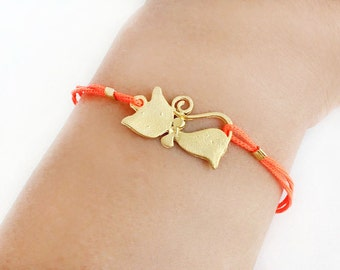 Cat bracelet, cat jewelry, gold cat bracelet, kitty bracelet, neon orange cord, gold bracelet, neon bracelet, best friend birthday gift