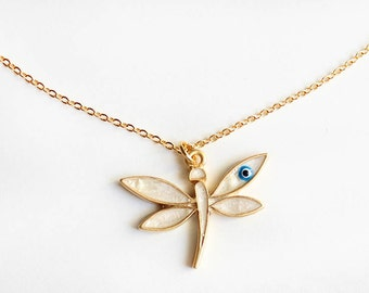 Dragonfly necklace, dragonfly jewelry, dragonfly pendant, evil eye necklace, mother of pearl, gold necklace, best friend gift, mother gift