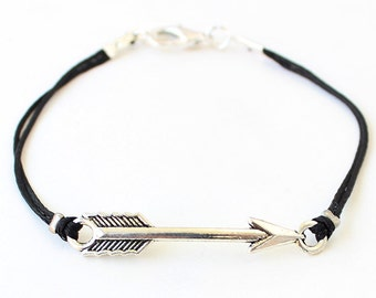 Arrow bracelet, black arrow bracelet, black string bracelet, gift for her, silver arrow, gift for him, best friend gift, birthday gift