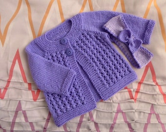 Purple wool baby sweater and headband set, hand knitted cardigan, handknit fit girl to 3 months