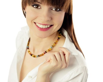 Amber Necklace, Coral Amber Turquoise Necklace, Colourful Summer Necklace