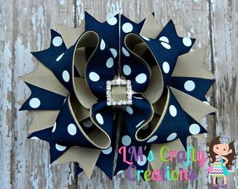 Blue and Khaki School Uniform Boutique Bow