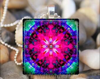 STARBURST MANDALA Kaleidoscope Summer Fractal Design Art Glass Tile Pendant Necklace Keyring